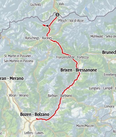 Mapa / Brennerradroute Brenner-Bozen