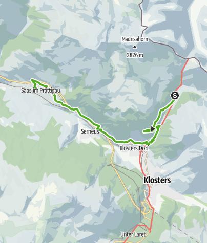 Karte / Rundwanderweg Klosters Etappe 7 - Schlappin - Saas