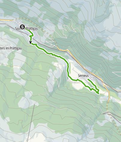 Karte / Rundwanderweg Klosters Etappe 8 - Saas - Bad Serneus