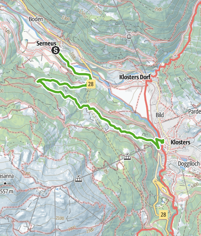 Karte / Rundwanderweg Klosters Etappe 9 - Bad Serneus - Cavadürli - Klosters