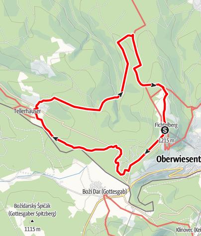 Karte / TagesTour Kammweg 21 Zwischen Fichtelberg und Tellerhäuser 18km
