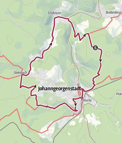 Cartina / TagesTour Kammweg 23 Vom Rabenberg nach Johanngeorgenstadt und durchs Steinbachtal zurück