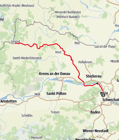 Karte / Franz-Josefs-Bahn (Wien – Gmünd/České Velenice)