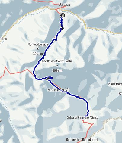 Karte / Pforzheim – Mittelmeer: 47.Etappe Laux - Salza di Pinerolo/Didiero