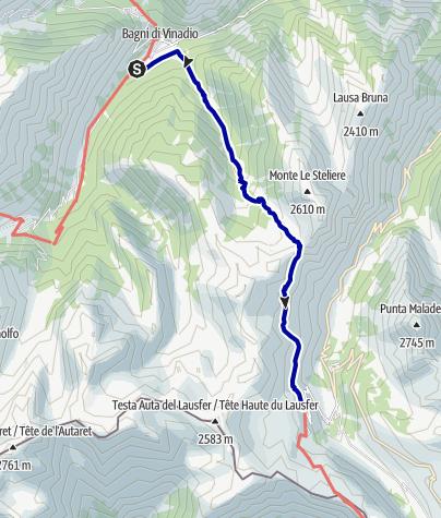 Karte / Pforzheim – Mittelmeer: 53.Etappe San Bernolfo - Sant Anna di Vinadio