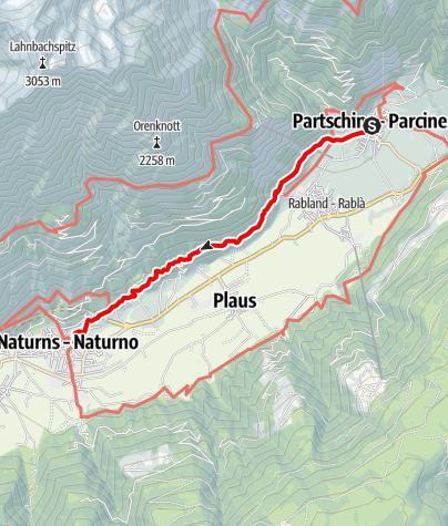 Karte / Von Partschins auf den Sonnenberger Panoramaweg nach Naturns