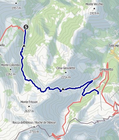 Karte / Pforzheim – Mittelmeer: 58.Etappe Refuge de Nicé -  La Bollène-Vésubie