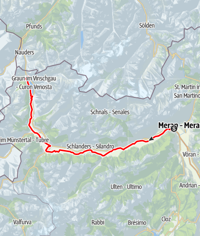 Mapa / Etschradweg Via Claudia Augusta: Von Rabland zum Reschensee