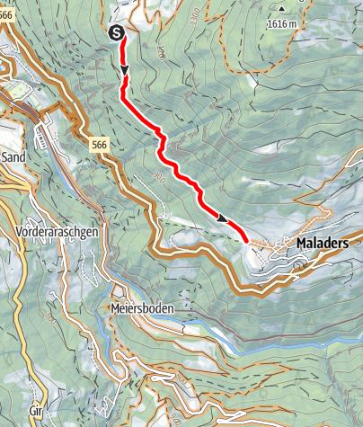 Karte / Mittenberg - Maladers Trail