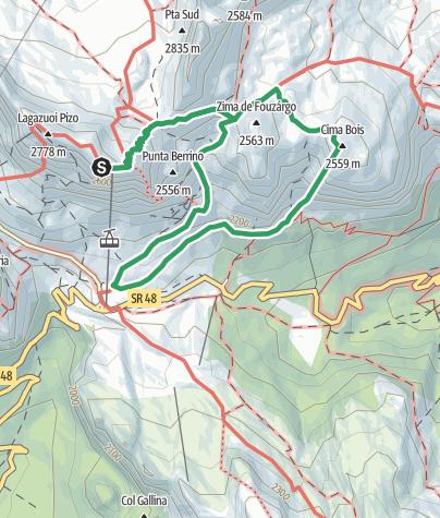 Karte / VF4 - Via Ferrata Degli Alpini from Rifguio Lagazuoi