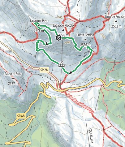 Map / VF4 - Lagazuoi War Tunnels and Lagazuoi Via Ferrata (Kaiserjägersteig) from Rifugio Lagazuoi