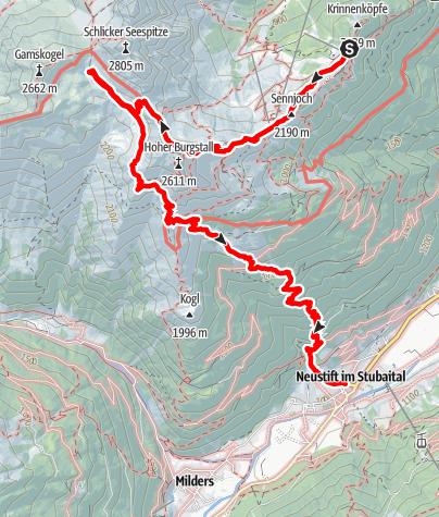Karte / Stubaier Bergseen: Schlicker See (Variante 1)