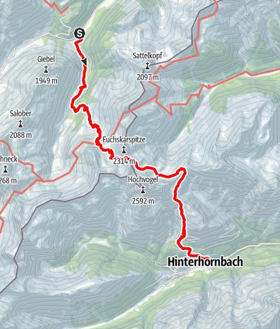 Mapa / Über das Prinz-Luitpold-Haus und den Fuchsensattel nach Hinterhornbach