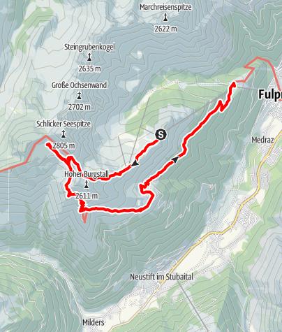 Karte / Stubaier Bergseen: Schlicker See (Variante 2)