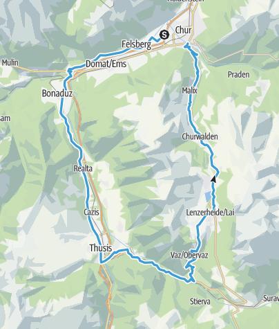 Karte / Chur - Thusis - Sporz - Lenzerheide - Chur