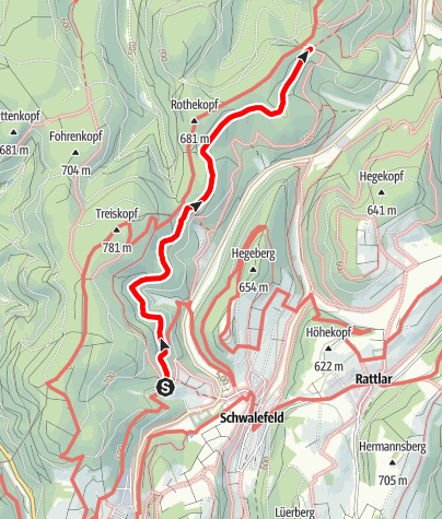 Kaart / Wanderstrecke Treis (Schwalefeld)