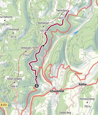 Karte / Wanderstrecke Treis (Schwalefeld)