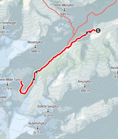 Karte / Stubaier Bergseen: Turmferner See