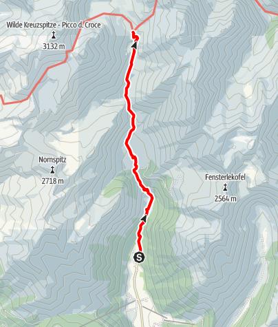 Mapa / Von Vals über die Fane Alm zur Brixner Hütte