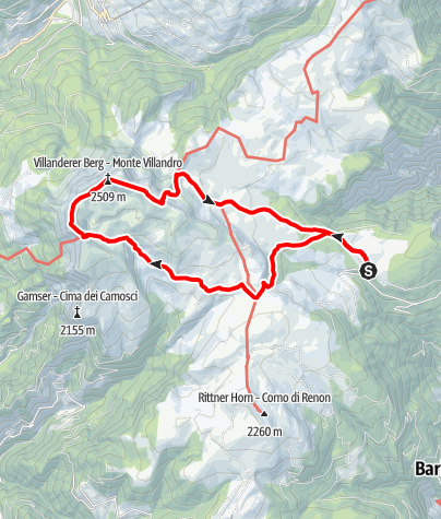 Map / From the Villanderer alm pasture to the Sarner Scharte ridge and the Villanderer Mountain.