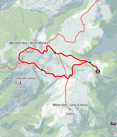 Kaart / Von der Villanderer Alm zur Sarner Scharte und zum Villanderer Berg