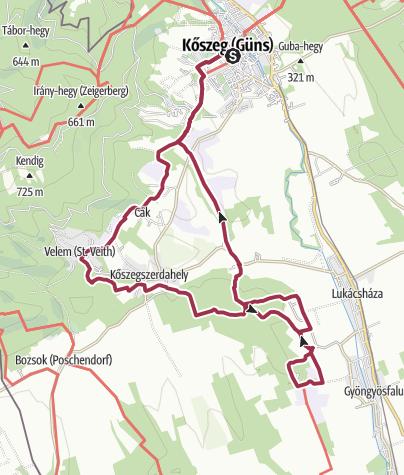 Karte / alpannonia® mellékútvonali körtúra - Kőszeghegyalja és a Csömöte-hegy