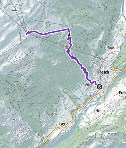Karte / VK, Fiesch - Fiescheralp, 4.9 Km, 1152 D+