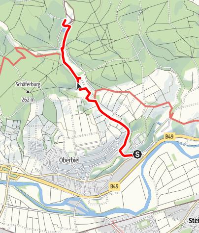 Karte / Grube Fortuna Zuwegung von Bushaltestelle Oberbiel Abzweig Altenberg
