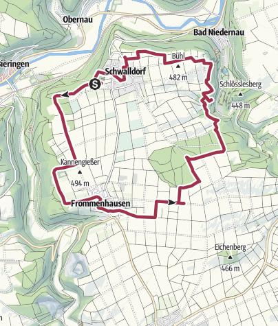 Karte / Wanderwegenetz Schwalldorf/Frommenhausen   Hochmarkrunde
