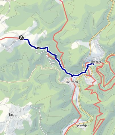 Karte / Alte Krähe, Krälingen - Bahnhof Altenahr