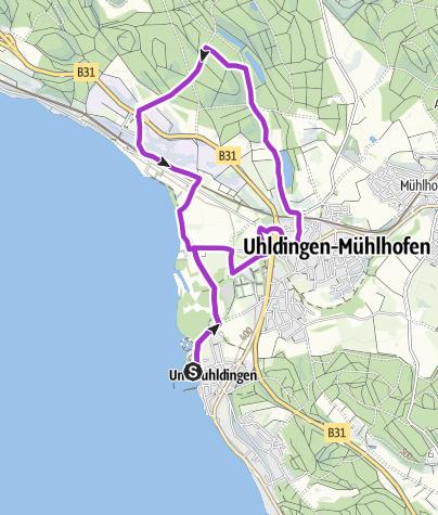 Karte / Uhldinger Pfahlbau Marathon 10er Jogging und Nordic Walking Strecke