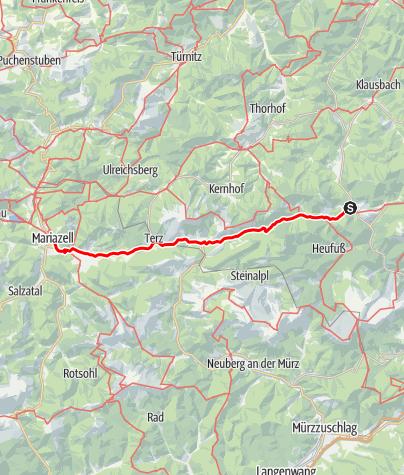 Mapa / Marienweg Etappe Schwarzau im Gebirge - Mariazell