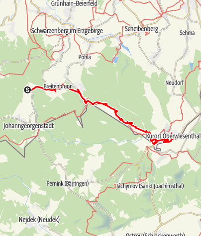 Karte / Breitenbrunner Wanderbusstrecke (Hin- und Rückfahrt)