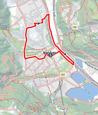 Map / Kinderwagenweg Vandans - Vens