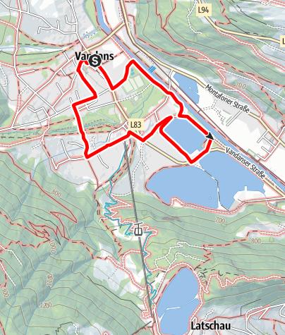 Map / Kinderwagenweg Vandans - Rodund