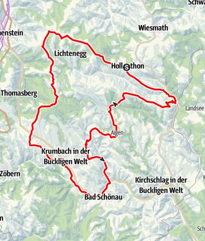 Map / E-Bike-Strecke: Hollenthon - Museumsdorf Krumbach