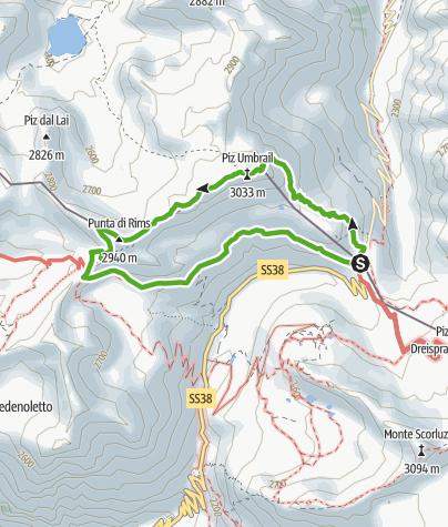 """Karte / Militärhistorische Wanderung: Streckenführung """"Umbrail"""""""