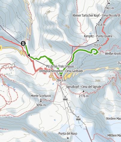 """Karte / Militärhistorischer Wanderweg: Streckenführung """"Trais Linguas"""""""