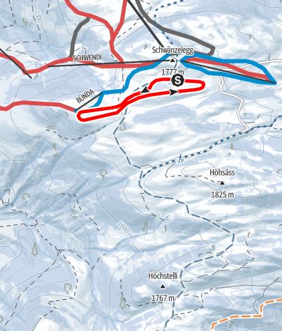 Karte / Panorama Langlauf-Loipe Grüsch-Danusa - Kleine Runde