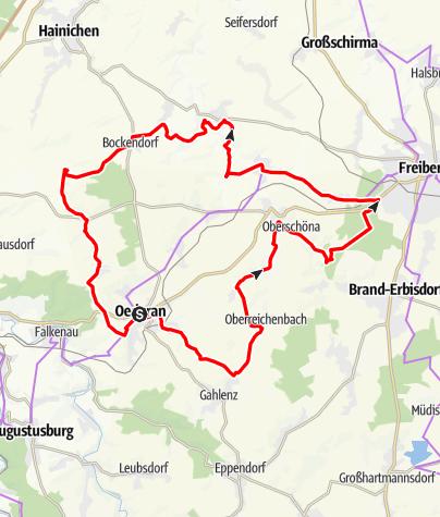 Karte / Vom Klein-Erzgebirge nach Freiberg