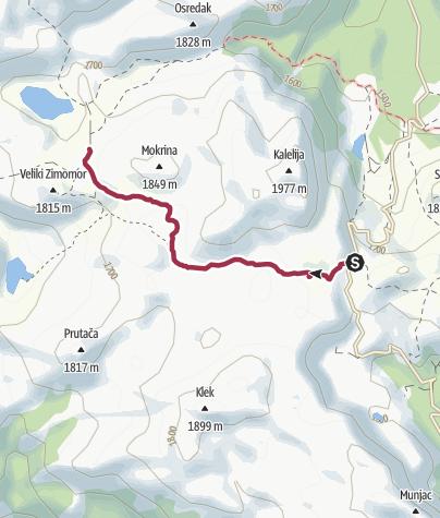Mapa / Planinarska staza od Štirinskog jezera do Borovnog brda