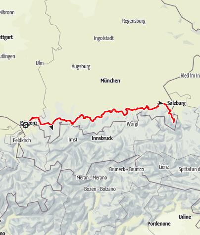 Karte / Bodensee-Königssee Radweg  Gesamtverlauf
