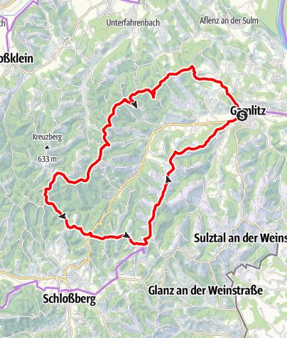 """Karte / Genussradeln - Weinstraßentour Variante 3 - """"Kranachberg-Sernauberg"""""""