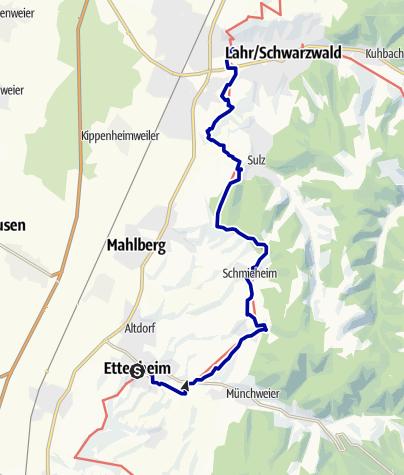 Karte / Breisgauer Weinweg 5.Etappe Ettenheim nach Lahr