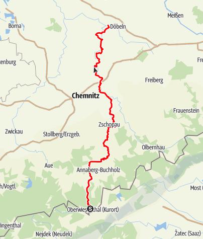 Karte / Zschopautalweg - Der Königsweg des Erzgebirges