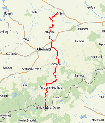 Karte / Zschopautalradweg - Der Königsweg des Erzgebirges