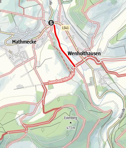 Karte / Zugangsweg Sauerland-Höhenflug: Vom Wanderparkplatz Wenneaue in Wenholthausen zum Sauerland-Höhenflug