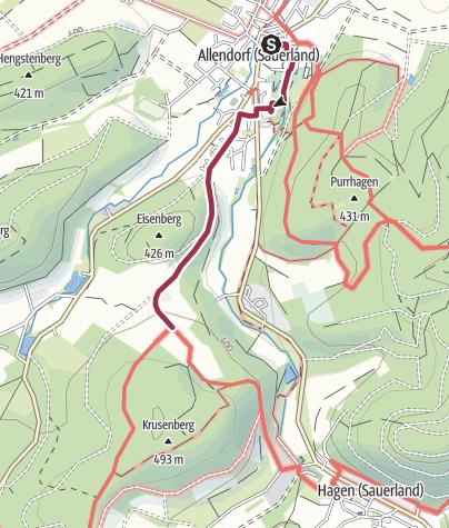 Karte / Zugangsweg: Von Sundern-Allendorf zum Sauerland-Höhenflug