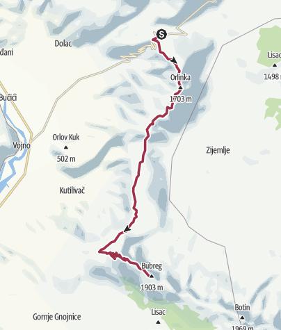 Mapa / Planinarska tura od Rujišta preko Orlinke i Brasine do Teleće Lastve