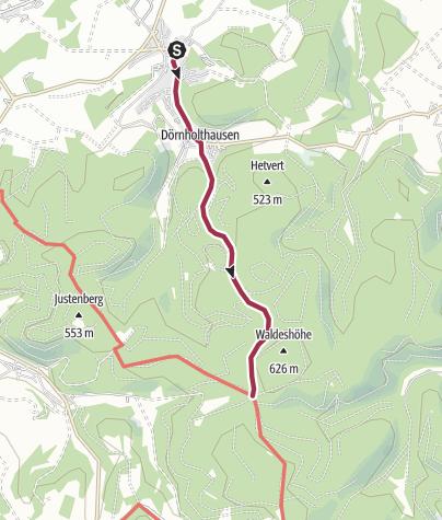 Karte / Zugangsweg Sauerland-Höhenflug: Von Sundern - Stockum zum Sauerland-Höhenflug